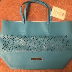 """Vince Camuto- Large Tote Bag, Teal Blue, 21""""x14"""""""